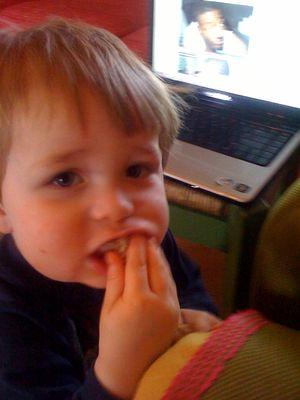 Walker eating bagel